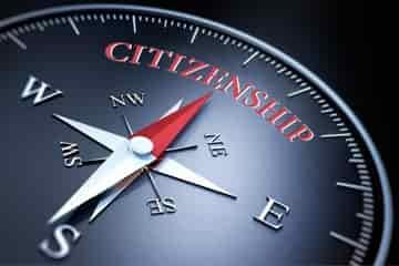 Compass pointing towards Canadian citizenship