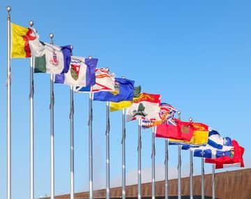 Canadian provincial flags representing Canadian provincial nominee programs (PNP)
